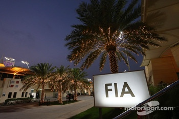 The FIA hospiality building in the paddock at night