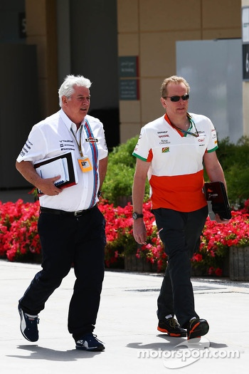 (L to R): Pat Symonds, Williams Chief Technical Officer with Andrew Green, Sahara Force India F1 Team Technical Director
