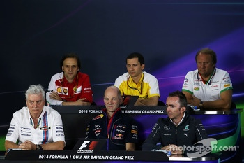 The FIA Press Conference: Remi Taffin, Renault Sport F1 Head of Track Operations; Robert Fernley, Sahara Force India F1 Team Deputy Team Principal; Pat Symonds, Williams Chief Technical Officer; Adrian Newey, Red Bull Racing Chief Technical Officer; Paddy