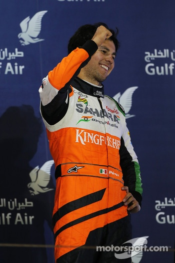Sergio Perez, Sahara Force India F1 celebrates his third position on the podium