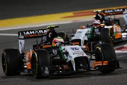 Sergio Perez, Sahara Force India F1 VJM07 leads Nico Hulkenberg, Sahara Force India F1 VJM07