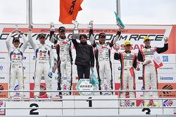 GT300 winners Nobuteru Taniguchi, Tatsuya Kataoka, second place Jorg Muller, Seiji Ara, third place Katsuyuki Hiranaka, Bjorn Wirdheim