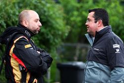 F1: (L to R): Gerard Lopez, Lotus F1 Team Principal with Eric Boullier, McLaren Racing Director