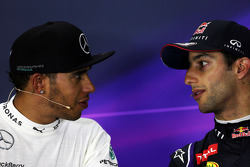(L to R): race winner Lewis Hamilton, Mercedes AMG F1 and third placed Daniel Ricciardo, Red Bull Racing in the FIA Press Conference