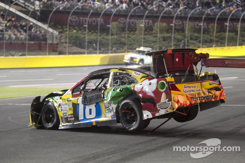 Crashed car of kyle busch joe gibbs racing toyota at all star for What motor does nascar use