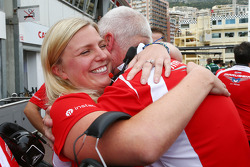 John Booth, Marussia F1 Team Team Principal and wife Laura Booth, Marussia F1 Team celebrate Jules Bianchi, scoring the team's first F1 points
