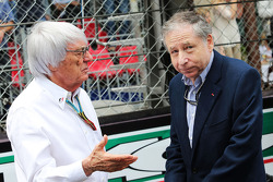 (L to R): Bernie Ecclestone, with Jean Todt, FIA President on the grid