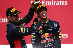 1st place Daniel Ricciardo, Red Bull Racing with 3rd place Sebastian Vettel, Red Bull Racing