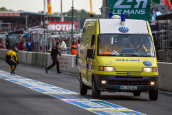 Ambulance leaving pit lane
