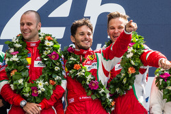 LMGTE Pro podium: class winners Gianmaria Bruni, Toni Vilander, Giancarlo Fisichella