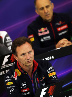 Christian Horner, Red Bull Racing Team Principal and Franz Tost, Scuderia Toro Rosso Team Principal in the FIA Press Conference
