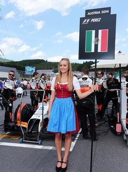 Grid girl for Sergio Perez, Sahara Force India F1 VJM07