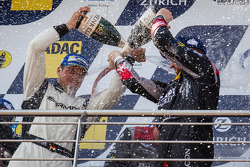 Podium: champagne for Lance David Arnold and Jeroen Bleekemolen