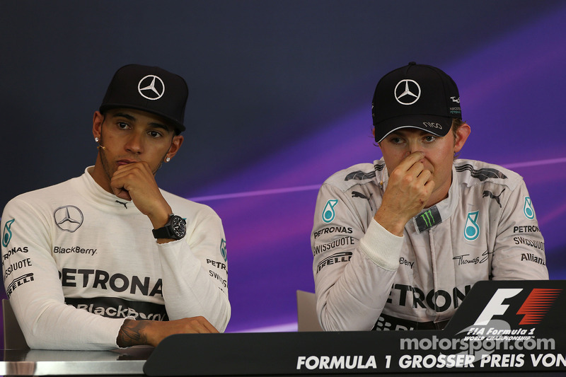 Lewis Hamilton, Mercedes AMG F1 and team mate Nico Rosberg, Mercedes AMG F1 in the post race FIA Press Conference