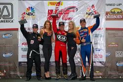 GTS Winners Podium: Jack Roush Jr. (second, left), Nic Jonsson (first, center), Tony Buffomante (third, right)
