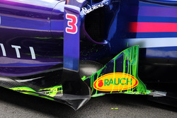 Flow-vis paint on the Red Bull Racing RB10 sidepod