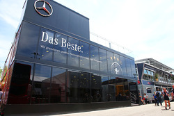 The Mercedes AMG F1 motorhome celebrates the German football team winning the 2014 FIFA World Cup