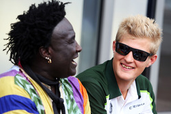 (L to R): Mr Moko, with Marcus Ericsson, Caterham