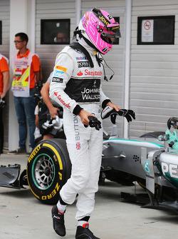 F1: Jenson Button, McLaren in qualifying parc ferme