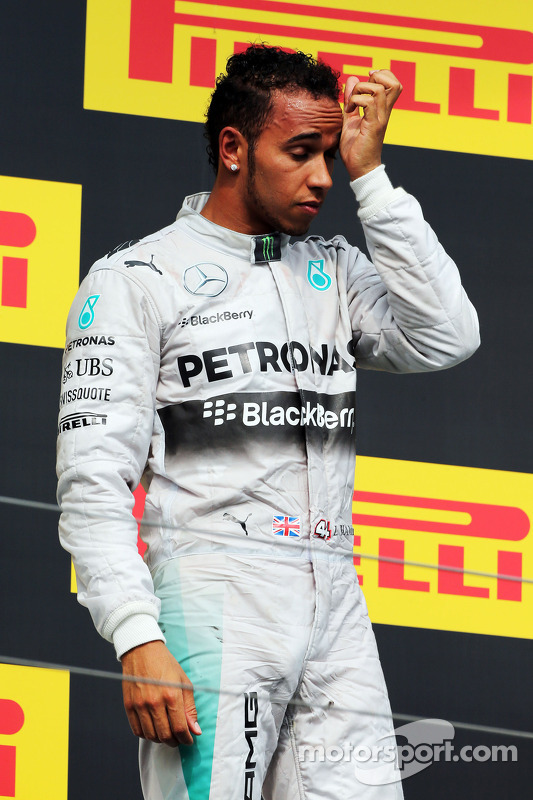 Lewis Hamilton, Mercedes AMG F1 on the podium