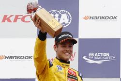 Podium: race winner Tom Blomqvist