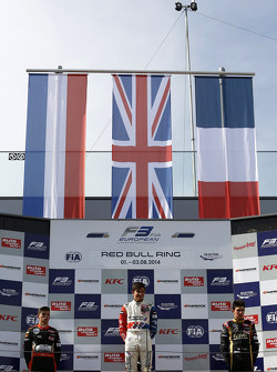 Rookie podium: winner Jake Dennis, second place Max Verstappen, third place Esteban Ocon