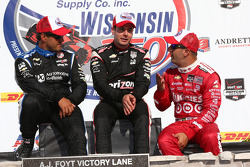 Race winner Will Power, second place Juan Pablo Montoya, third place Tony Kanaan