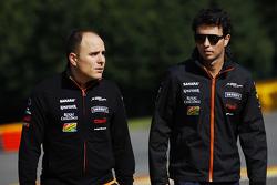 Sergio Perez, Sahara Force India F1 walks the circuit with Gianpiero Lambiase, Sahara Force India F1 Engineer