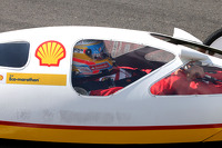 Fernando Alonso, Scuderia Ferrari drives a car from the Shell Eco Marathon