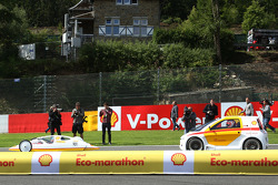 F1: (L to R): Fernando Alonso, Ferrari and team mate Kimi Raikkonen, Ferrari drive cars from the Shell Eco Marathon