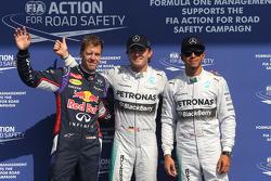 F1: Sebastian Vettel, Red Bull Racing, Nico Rosberg, Mercedes AMG F1 Team and Lewis Hamilton, Mercedes AMG F1 Team