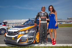 #81 Subaru Rally Team USA Subaru WRX STi: Bucky Lasek with the Red Bull girl