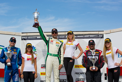 GT-A Winners Podium: Marcelo Hahn (second, left), Tim Pappas (first, center), Michael Mills (third, right)