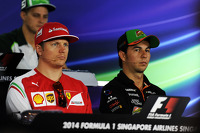 (L to R): Kimi Raikkonen, Ferrari and Sergio Perez, Sahara Force India F1 in the FIA Press Conference