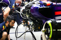 The Red Bull Racing RB10 of Sebastian Vettel, Red Bull Racing is worked on in the second practice session