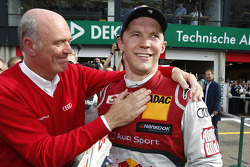 Race winner Mattias Ekström, Audi Sport Team Abt Sportsline, Audi RS 5 DTM with head of Audi Motorsport Dr. Wolfgang Ullrich