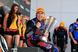 Race winner Chaz Mostert celebrates