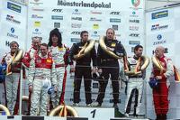 Podium: race winners Jürgen Alzen, Dominik Schwager, second place Sabine Schmitz, Patrick Huisman, Frank Stippler, Klaus Abbelen, third place Frederic Makowiecki, Otto Klohs