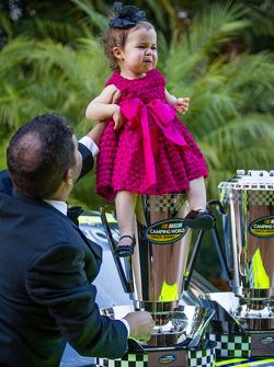 NASCAR Camping World Truck Series champion driver Matt Crafton with his daughter