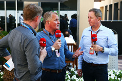 (L to R): Simon Lazenby, Sky Sports F1 TV Presenter with Johnny Herbert, Sky Sports F1 Presenter and Martin Brundle, Sky Sports Commentator