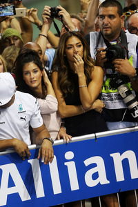 Nicole Scherzinger, Singer, girlfriend of Lewis Hamilton, Mercedes AMG F1, at parc ferme