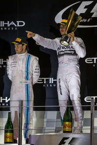 Race winner and World Champion Lewis Hamilton, Mercedes AMG F1 celebrates on the podium