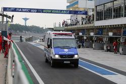 Mark Webber is transported by ambulance after a major crash