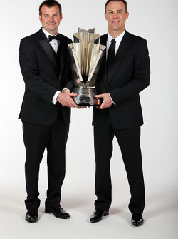 Crew chief Rodney Childers and NASCAR Sprint Cup Champion Kevin Harvick