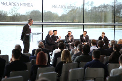 Yasuhisa Arai, head of Honda Motorsport, Jenson Button, Kevin Magnussen, Fernando Alonso and Ron Dennis, Chairman & CEO of McLaren