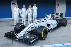 The Williams FW37 is unveiled: Valtteri Bottas, Williams; Felipe Massa, Williams; Susie Wolff, Williams Development Driver; Alex Lynn, Williams Development Driver