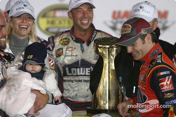 Victory lane: Jeff Gordon celebrates with the Lowe's Chevrolet team