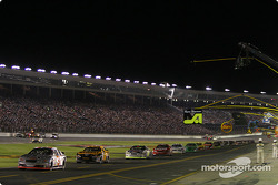 The field runs on pit road during another yellow