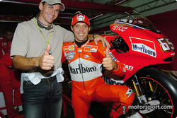 Loris Capirossi with Olympic athlete Giuseppe Gibilisco