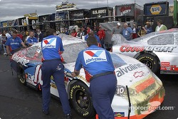 Valvoline Chevrolet crew in pre-race technical inspection line